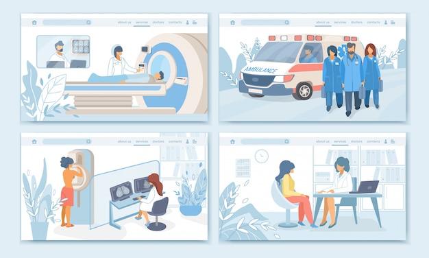 Procédures, ensemble de bannières profession traitement medicine patient Vecteur Premium