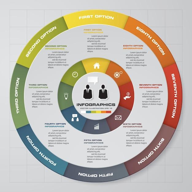 Processus en 8 étapes. élément de conception abstraite simple et modifiable. vecteur. Vecteur Premium