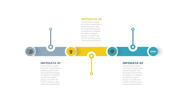Processus d'affaires. chronologie infographique avec icône marketing et étape, option. Vecteur Premium