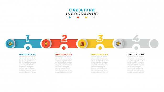 Processus D'affaires. Infographie De La Chronologie Avec Icône Et étape Marketing, Option, Disposition Des Nombres Vecteur Premium