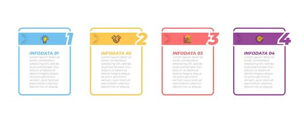 Processus D'affaires. Timeline Infographie Et Icônes Marketing Avec Options, étapes, Boîtes Rectangulaires. Vecteur Premium