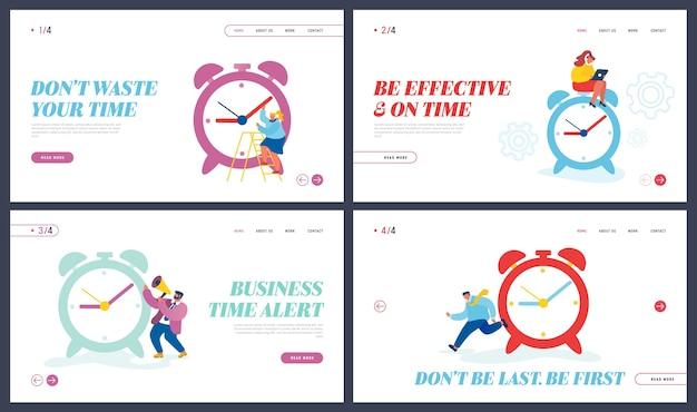 Processus Commercial, Page De Destination Du Site Web De Gestion Du Temps Vecteur Premium