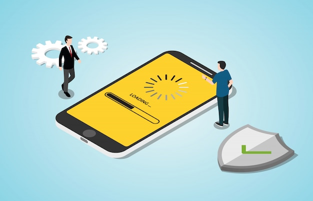 Processus de concept de mise à jour du système 3d isométrique avec applications pour smartphone Vecteur Premium