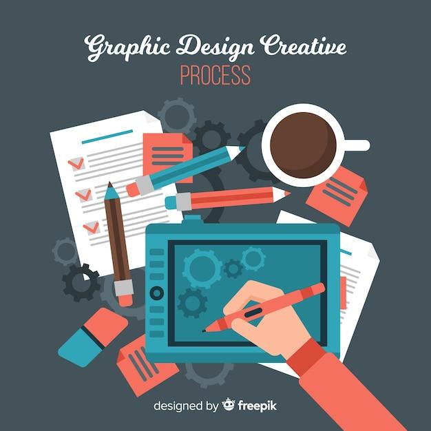 Processus de création graphique Vecteur gratuit