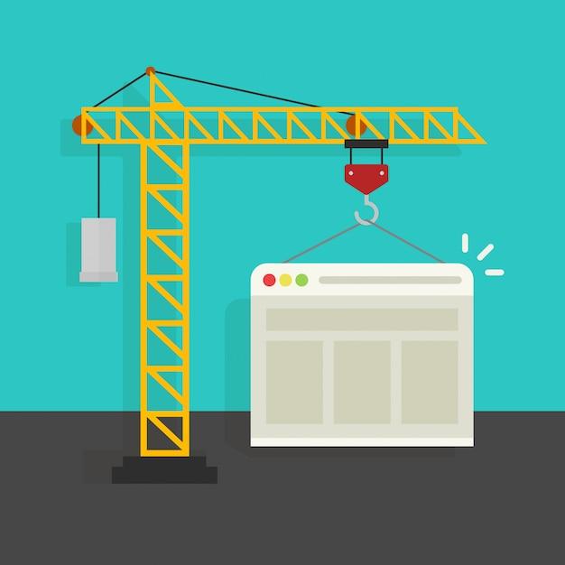 Processus de création de site web ou développement de page web avec bande dessinée plate Vecteur Premium