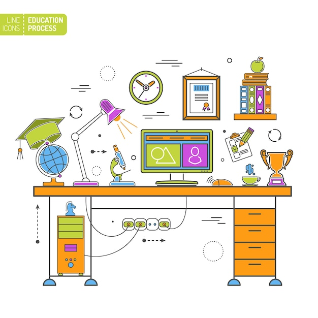 Processus d'éducation en ligne Vecteur Premium