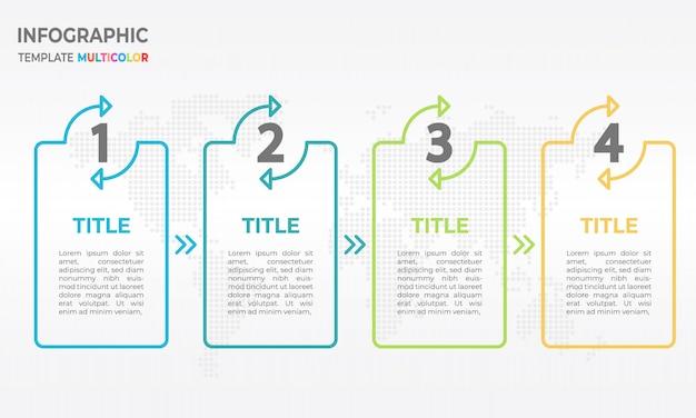 Processus de modèle de conception de ligne mince d'infographie 4 options. Vecteur Premium