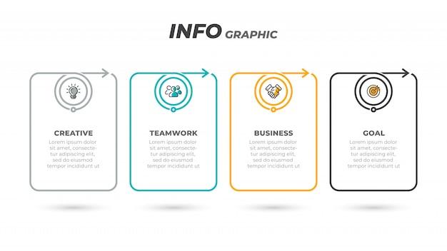 Processus Plat Mince. étiquette D'infographie D'entreprise Avec 4 étapes, Options, Flèches Vecteur Premium