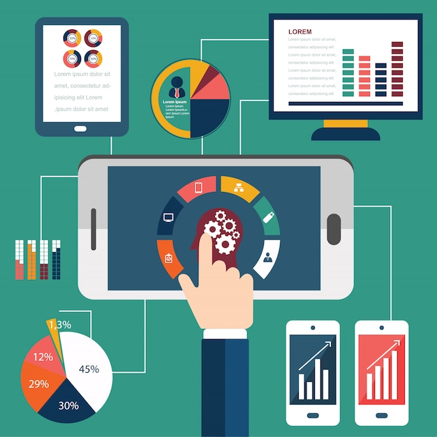 Processus de programmation et éléments d'analyse web Vecteur Premium