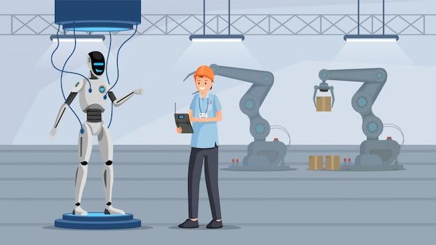 Processus de test de robot à plat Vecteur Premium