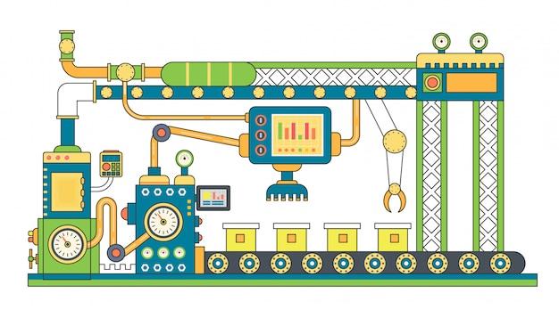 Production de bandes transporteuses industrielles Vecteur Premium