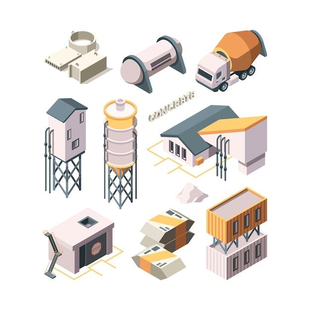 Production De Béton. Ciment Usine Industrie Des Matériaux Technologie Bétonnière Réservoirs De Transport Vecteur Isométrique. Bâtiment Industriel En Ciment, Béton De Production Vecteur Premium