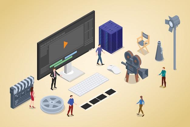 Production de montage vidéo avec des membres de l'équipe et éditeur avec isométrique moderne Vecteur Premium