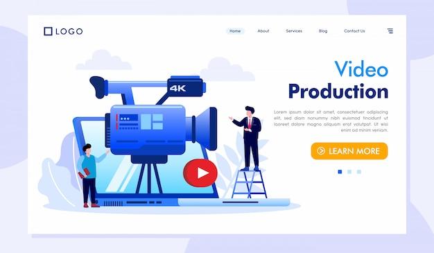 Production Vidéo, Atterrissage, Site Web, Illustration, Vecteur Vecteur Premium