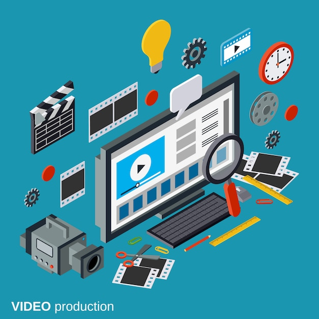 Production vidéo, montage, montage de montages plat 3d illustration concept isométrique Vecteur Premium
