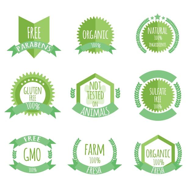 Produit biologique, sans paraben, non testé sur bages ou icônes pour animaux Vecteur Premium