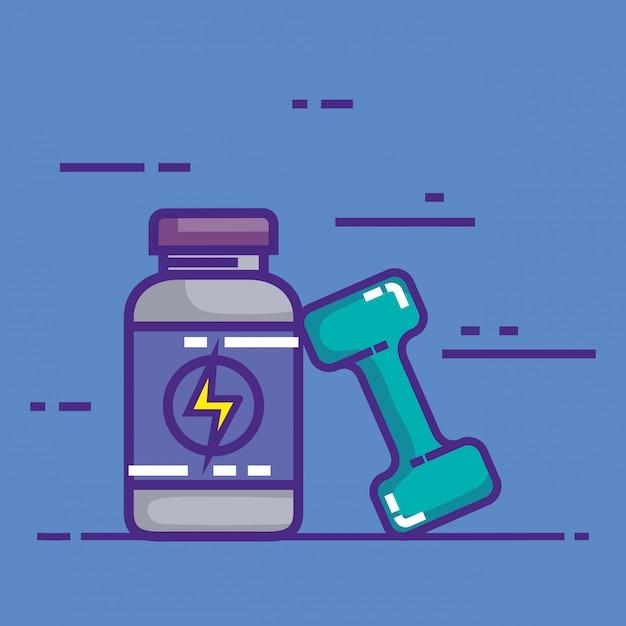 Produit de bouteille d'énergie avec haltère Vecteur gratuit