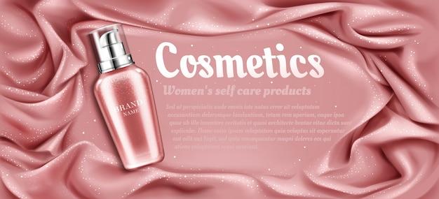 Produit cosmétique de beauté naturelle pour les soins du visage et du corps sur un tissu drapé soyeux rose Vecteur gratuit