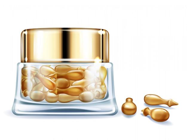 Produit cosmétique de soins de la peau pour femmes avec vecteur réaliste 3d de vitamines. Vecteur gratuit