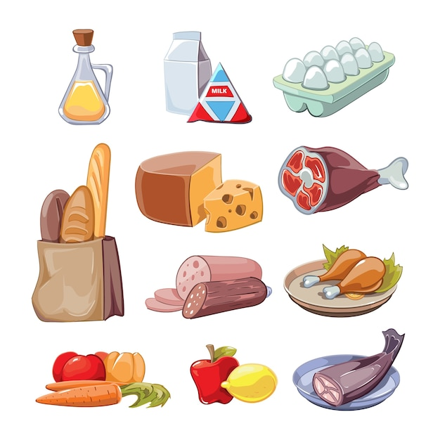 Produits Alimentaires Courants De Tous Les Jours. Clipart De Dessin Animé Mis à Disposition, Fromage Et Poisson, Saucisses Et Lait Vecteur gratuit