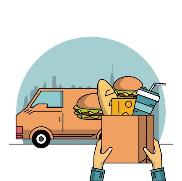 Produits alimentaires et livraison Vecteur Premium