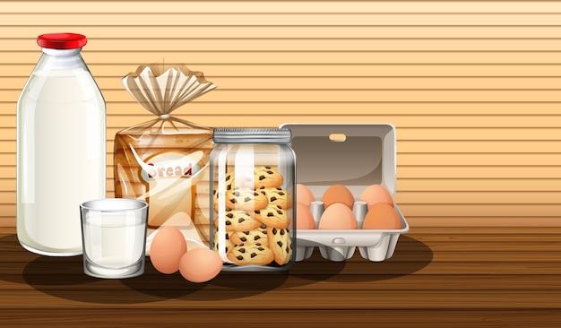 Produits De Boulangerie Avec Bouteille De Lait Et Deux œufs Dans Un Groupe Vecteur gratuit