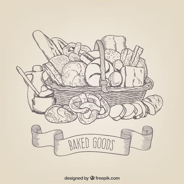 Produits de boulangerie dessins Vecteur gratuit