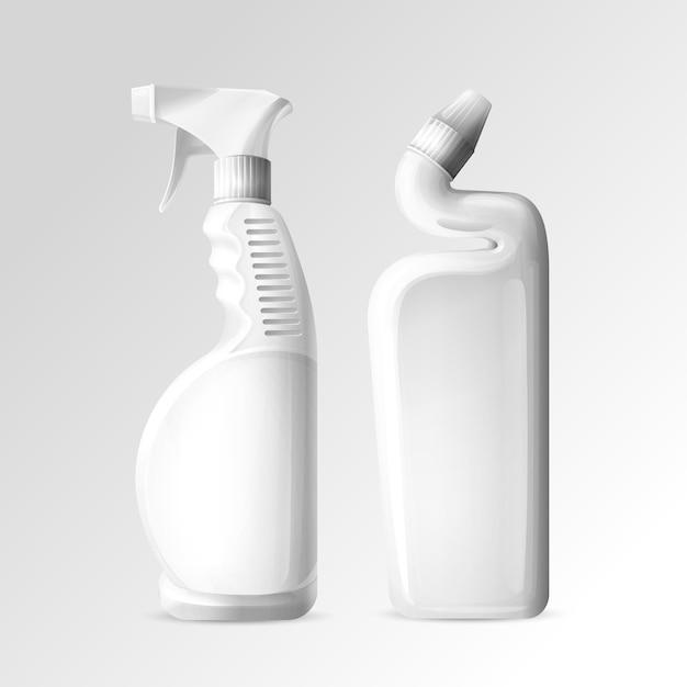 Produits chimiques de nettoyage ménagers de bouteilles de maquette 3d de nettoyant pour toilettes et salle de bain Vecteur gratuit
