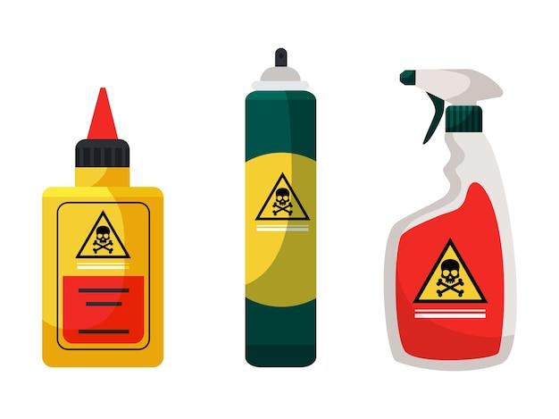 Produits Chimiques Pour L'extermination Et La Désinfection D'insectes Set Spray Aérosol Liquide Toxique Poison Vecteur Premium