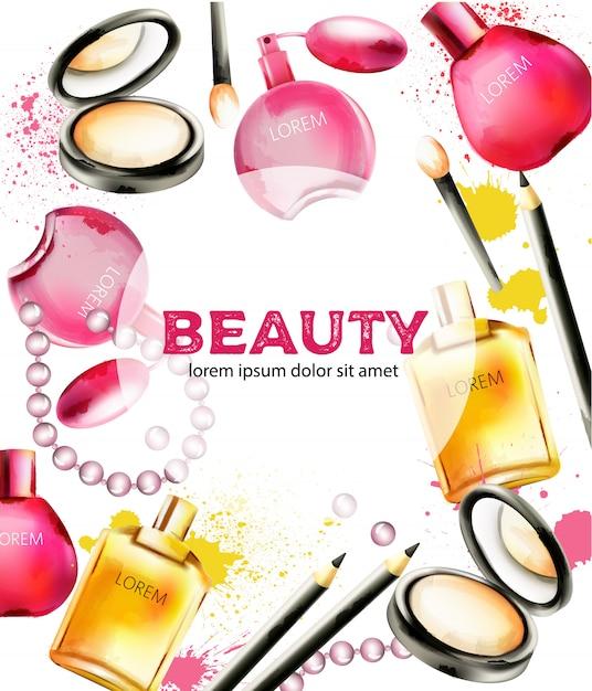 Produits Cosmétiques De Beauté Avec Parfums, Poudre Pour Le Visage, Pinceaux Et Perles Vecteur Premium