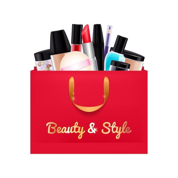 Produits cosmétiques cadeau mis dans le sac de papier rouge. Vecteur Premium