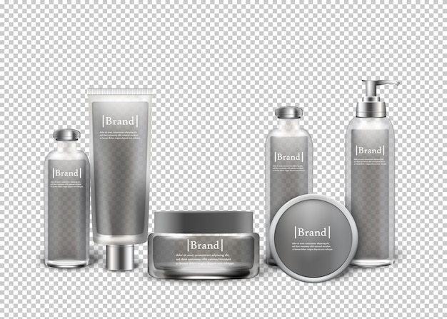 Produits cosmétiques de luxe isolés en bouteilles. Vecteur Premium