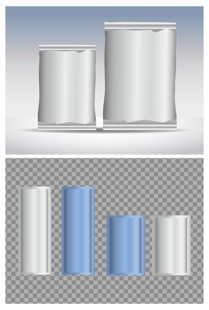 Produits D'emballage De Sachets Gris Avec Préservatif Vecteur Premium