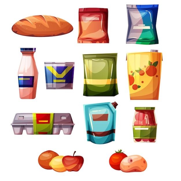 Produits d'épicerie d'illustration de supermarché ou de magasin. Vecteur gratuit