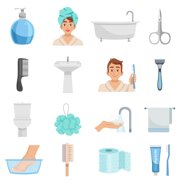 Produits d'hygiène icon set Vecteur gratuit