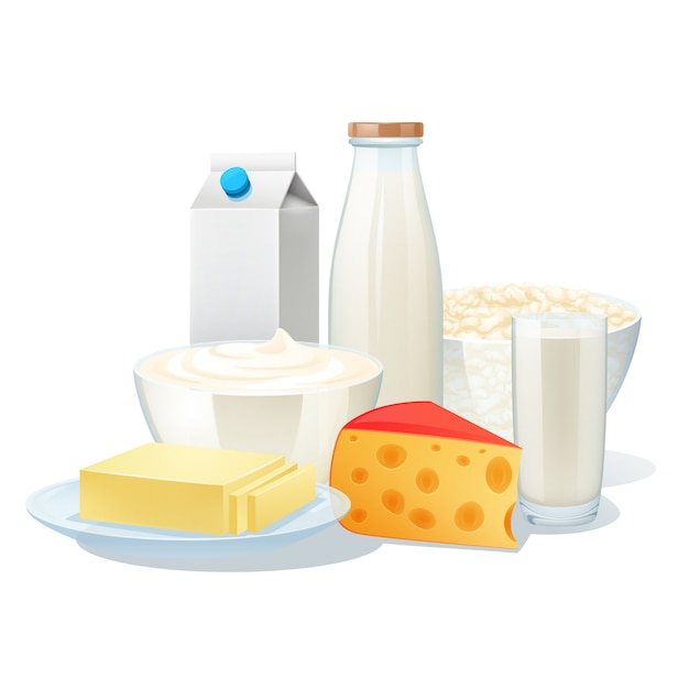 Produits Laitiers Biologiques Frais Sertis De Fromage Et De Beurre Vecteur gratuit