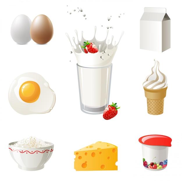 Produits laitiers Vecteur Premium