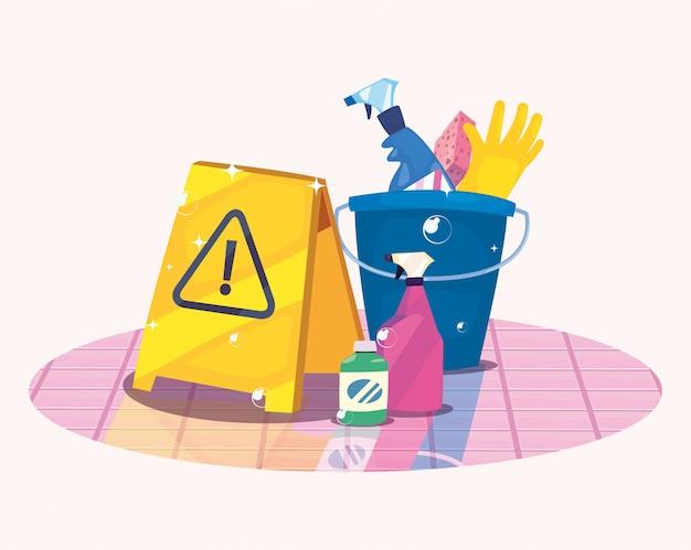 Produits de nettoyage et fournitures Vecteur Premium