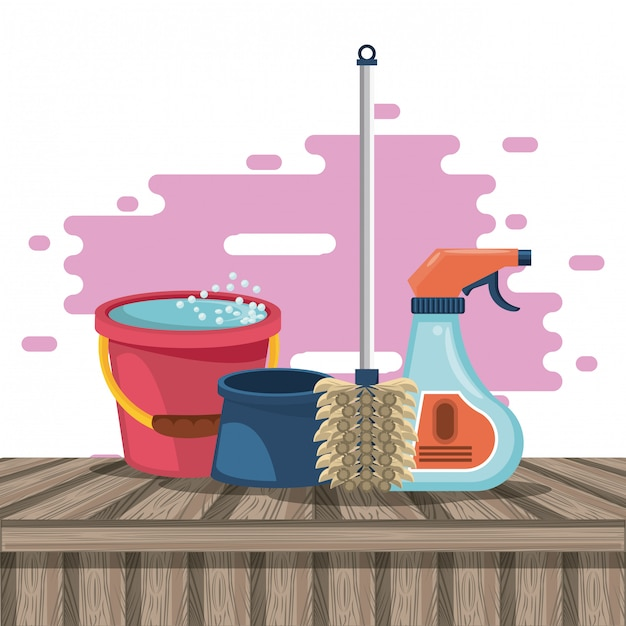 Produits de nettoyage pour dessins animés Vecteur gratuit
