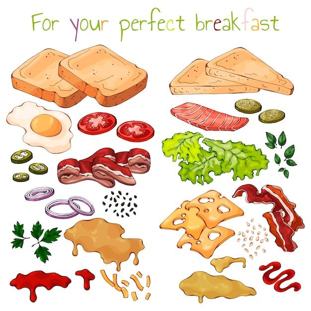 Produits pour la cuisson des sandwichs. Vecteur Premium