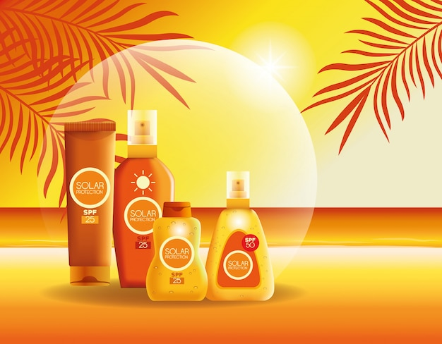 Produits de protection solaire pour l'été Vecteur gratuit