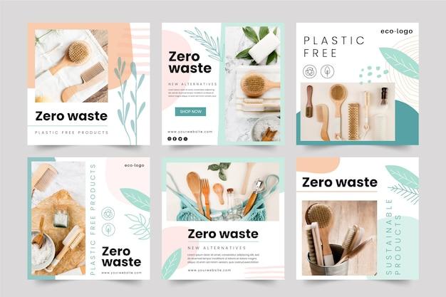 Produits Sans Plastique Zéro Déchet Instagram Posts Vecteur gratuit