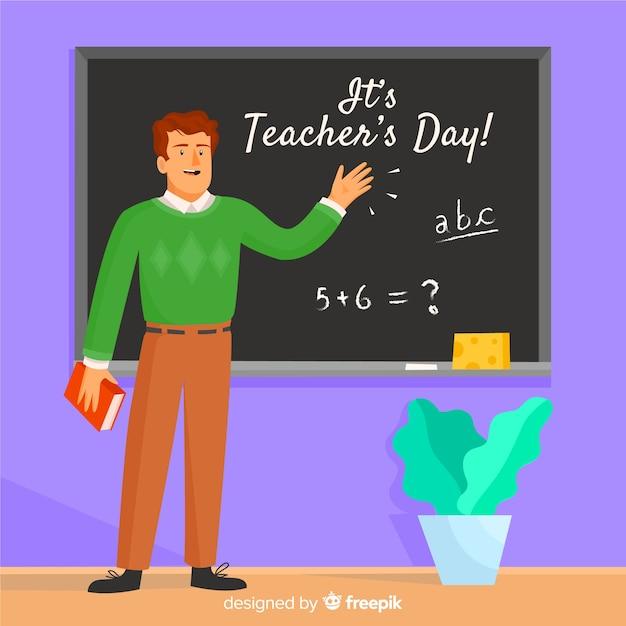 Un professeur célèbre la journée des enseignants à l'école Vecteur gratuit