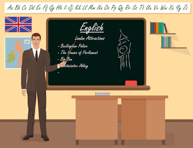Professeur d'école de langue anglaise Vecteur Premium