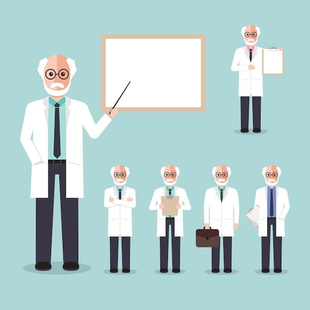 Professeur scientifique. Vecteur Premium