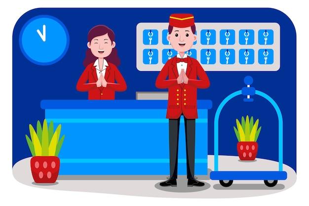 Profession De Réceptionniste D'hôtel Vecteur Premium