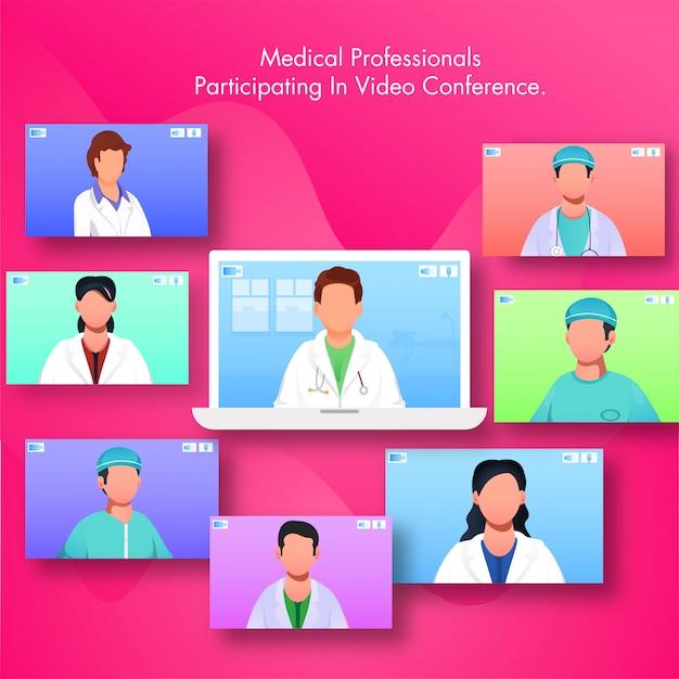 Professionnel Médical Participant à La Vidéoconférence Par Ordinateur Portable Avec Plusieurs écrans De Médecins Et D'infirmières. Vecteur Premium