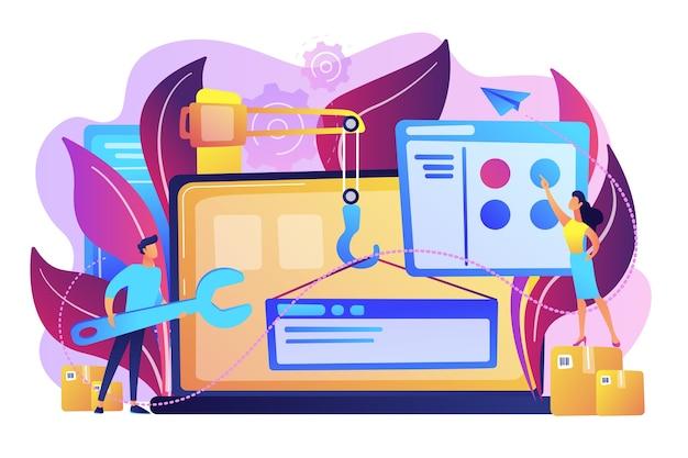 Les Professionnels De L'informatique Créent Un Site Web Sur L'illustration De L'écran De L'ordinateur Portable Vecteur gratuit