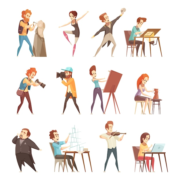 Professions créatives cartoon icons set Vecteur gratuit