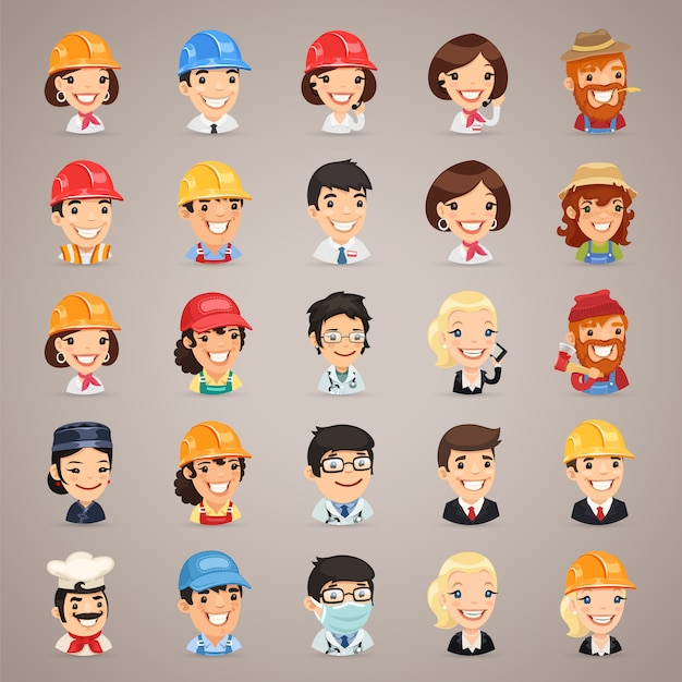 Professions vector characters icons set Vecteur Premium